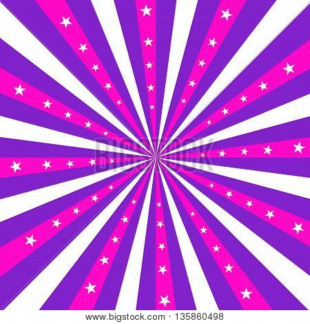 Square design featuring pnk purple and white stripes radiating out from the center with white stars.
