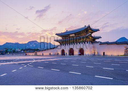 Gyeongbokgung palace in Seoul , South Korea.