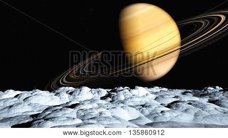 The image of the Saturn landscape  3D illustration