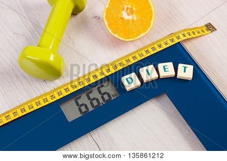Digital Bathroom Scale With Tape Measure, Orange, Dumbbells, Slimming Concept