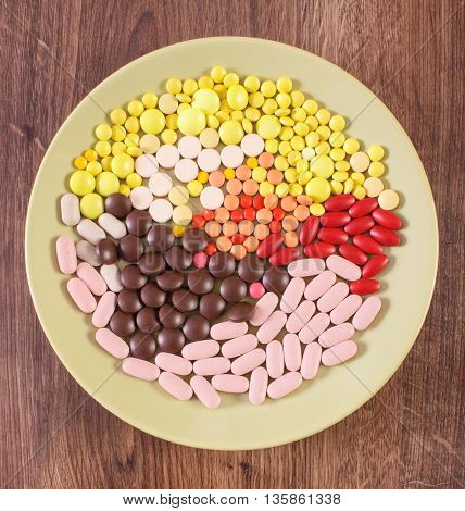 Colorful Medical Pills, Tablets And Capsules On Plate, Health Care Concept