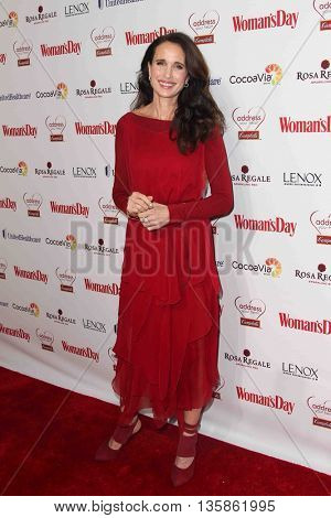 NEW YORK-FEB 10, 2015: Actress Andie MacDowell attends the 12th Annual Woman's Day Red Dress Awards at Jazz at Lincoln Center on February 10, 2015 in New York City.