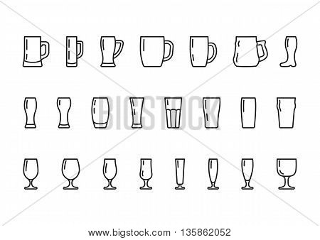 Beer glasses and mugs, vector line icons set