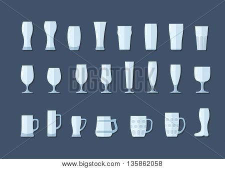 Beer glasses and mugs, vector flat line icons set