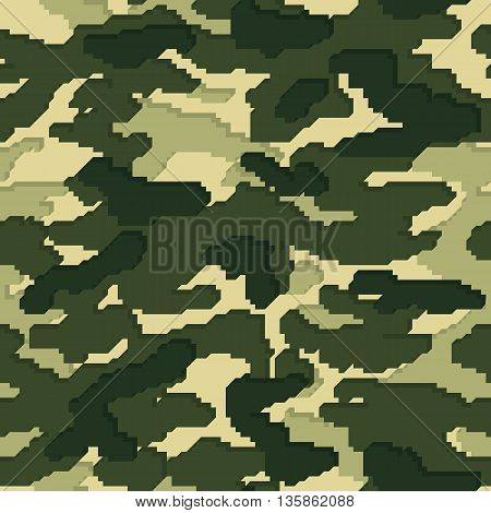Military volume camouflage seamless pattern, green colors, vector illustration