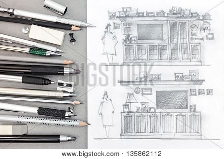 Graphical Drawings Of Wall Units On Designer Workplace Background With Various Drawing Tools