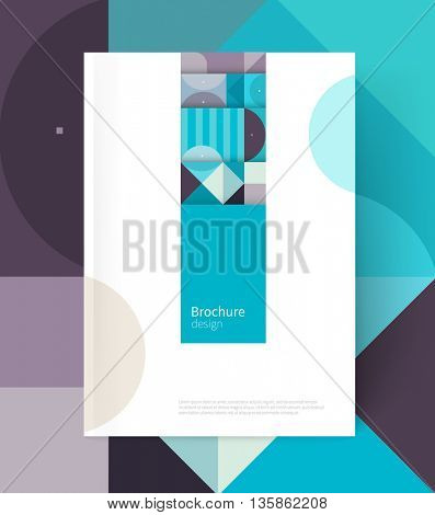 Brochure cover template. Book design creative concept  cover for catalog, report, brochure. Pastel color turquoise, violet & blue. abstract geometric shapes. Squares, triangles and circles
