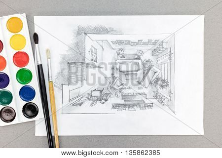 Top View Sketch Of Living Room With Watercolor Paints And Brushes