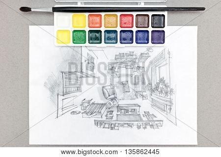 Designer Workplace With Freehand Drawing Of Living Room, Watercolor Paints, Brush
