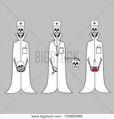 Three doctors of the skeleton in white coats. Three doctors of the skeleton with medical items. Three cartoon doctor skeleton for Halloween. Three hilarious funny doctor skeleton.