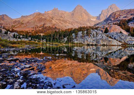 Mt. Ritter and Banner Peak Reflected in an Alpine Lake. Ediza Lake, The Ansel Adams Wilderness, Sierra Nevada, California