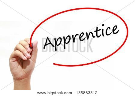 Man Hand writing Apprentice with marker on transparent wipe board. Business internet technology concept.