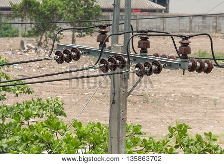 electricity post high voltage cable lines .