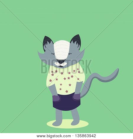 Gray cat in yellow clothes. Flat and nice design