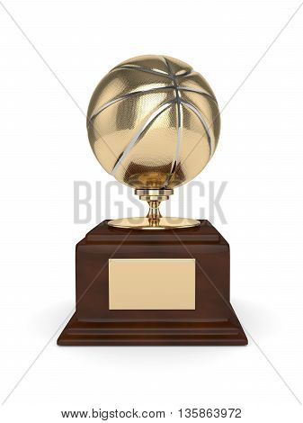 3d rendered basketball trophy isolated on white background