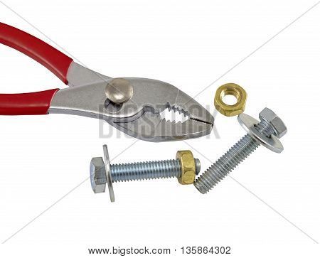 Red adjustable wrench and bolt on white background