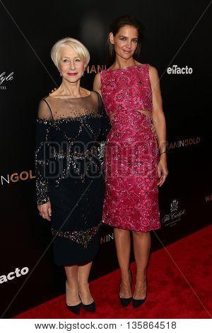 NEW YORK-MAR 30: Katie Holmes (R) and Helen Mirren attend the