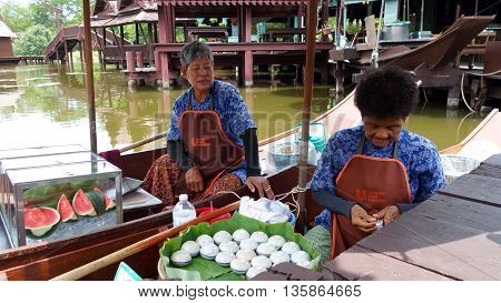 Floating Market In The Suburbs Of Bangkok