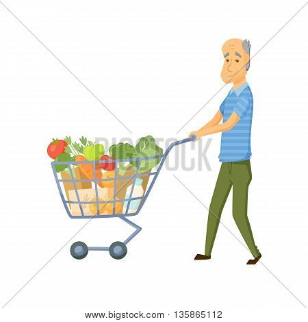 Older men with shopping cart full of healthy food. Senior buy vegetable on market. Old men hold with shopping trolley full of healthy food . Grandpa buy products. Old men with shopping cart vector