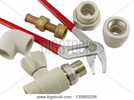 Wrench and Water valve set on a white background