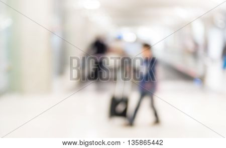 Blurred Background :  Traveler Walk In To Terminal At Airport Terminal Departure Blur Background Wit