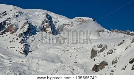 Nisqually Glacier Ice Cliff Avalanche.  Mt Rainier National Park, Washington, USA