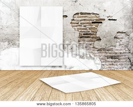 Room With Hanging Blank Crumpled White Poster At Crack Brick Wall And Wooden Floor Room,template Moc
