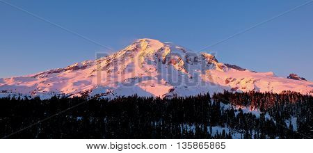 Panoramic View of Snowy Mt. Rainier During Sunset.  Mt Rainier National Park, Washington, USA