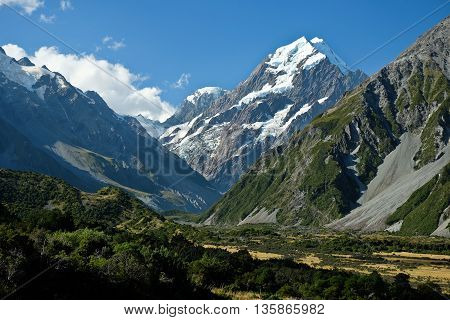 Mt. Cook and Hooker Valley From Mt Cook Village.  Mt. Cook National Park, Southern Alps, New Zealand
