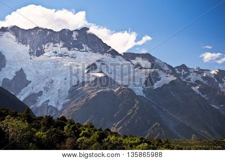 A Glacier Clings to The Face of Mt Sefton.  Mt Cook National Park, Southern Alps, New Zealand