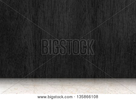 Empty Room With Black Wood Floor And White Marble Floor,perspective Room