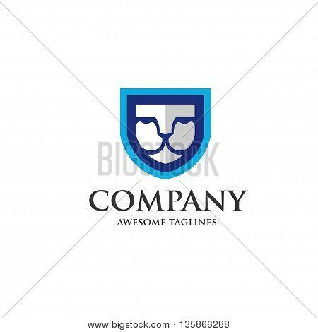 Lion shield vector premium logo design template.