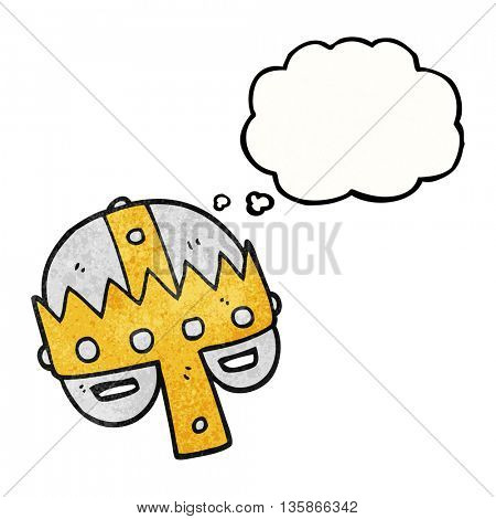 freehand drawn thought bubble textured cartoon medieval helmet