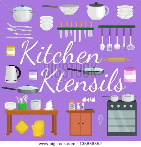 Food and cooking banner set with kitchenware utensils, Kitchen set of tools for cook or cooking meals. Vector illustration of isolated kitchen utensil. Background with utensil, cook equipment, domestic tools for home