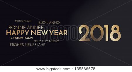 Multilingual Happy New Year Background Golden Font