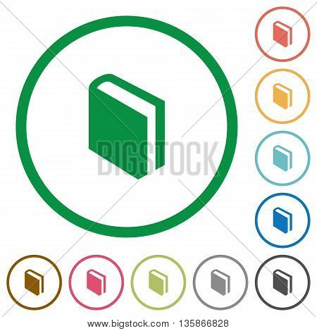 Set of book color round outlined flat icons on white background