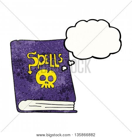 freehand drawn thought bubble textured cartoon spell book