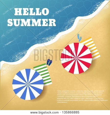 Summer beach travel flyers with beach items and wave top view vector eps 10