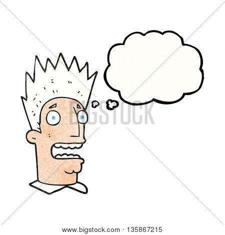freehand drawn thought bubble textured cartoon shocked man