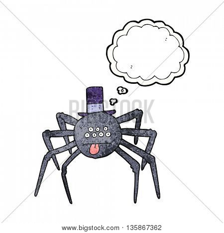 freehand drawn thought bubble textured cartoon halloween spider in top hat