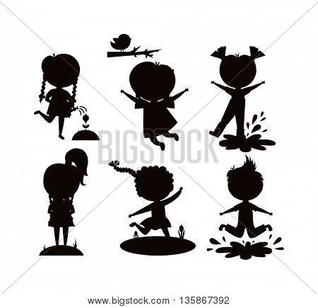 Summer kids vector illustration black silhouette