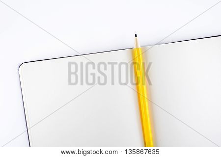Open Blank Notebook With Yellow Pencil On White Background,template Mock Up For Adding Your Content