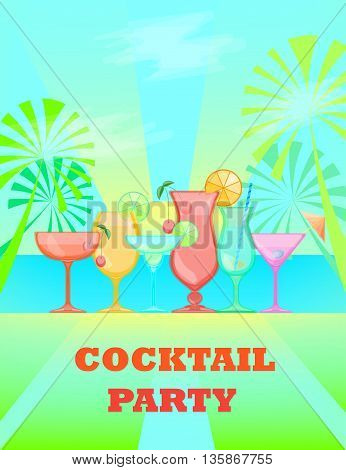 Summer Cocktails and sunny coast background. Relax summer time holidays illustration. Beach bar and cocktail party Candy Vector background.