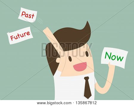 Businessman choosing a card with word