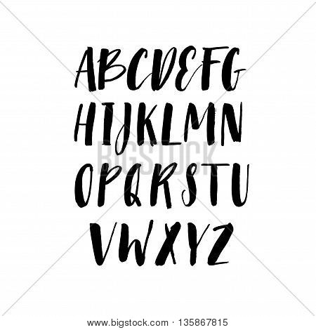 Collection of hand drawn letters. Modern brush calligraphy. Ink illustration. Hand drawn lettering background. Isolated on white background.