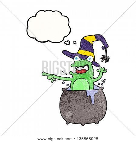 freehand drawn thought bubble textured cartoon halloween toad