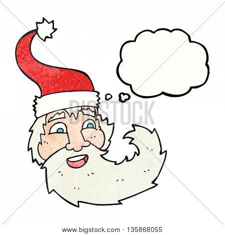 freehand drawn thought bubble textured cartoon santa claus laughing