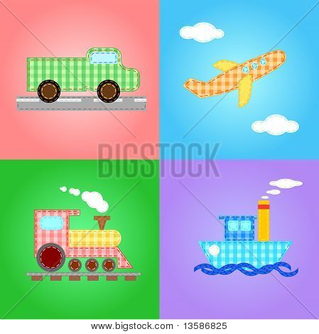 funny images of four types of transport - editable vector