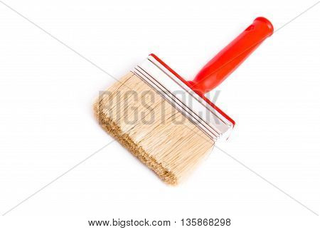Red brush for painting and decoration on white background