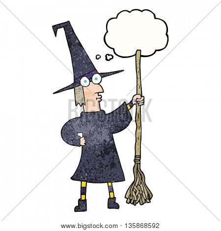 freehand drawn thought bubble textured cartoon witch with broom